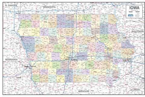 Iowa Map With Highways.Business Wall Maps Gallup Map