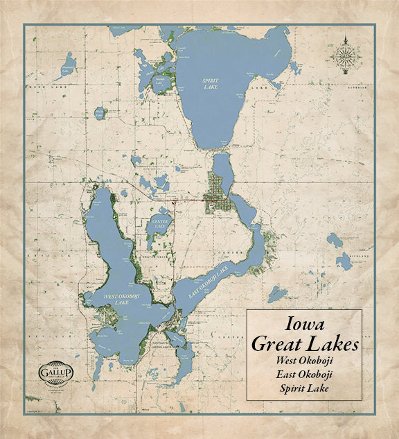 Iowa Great Lakes Old West Style Map