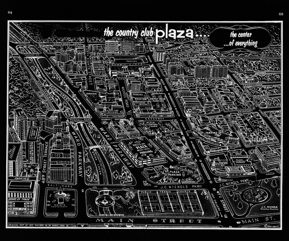Country Club Plaza Vintage Map Black Negative Vintage Kansas City