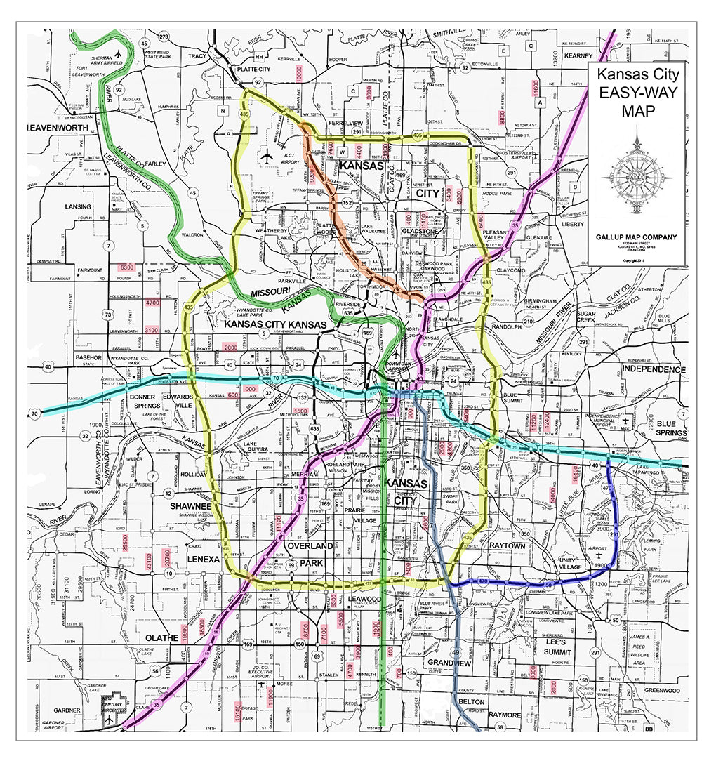 Kansas City Easy-Way Map For New Drivers