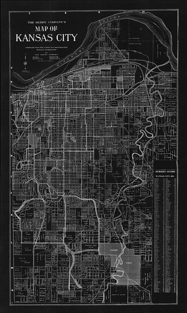 1911 Kansas City Map Berry Map Company Black Negative Antique Map