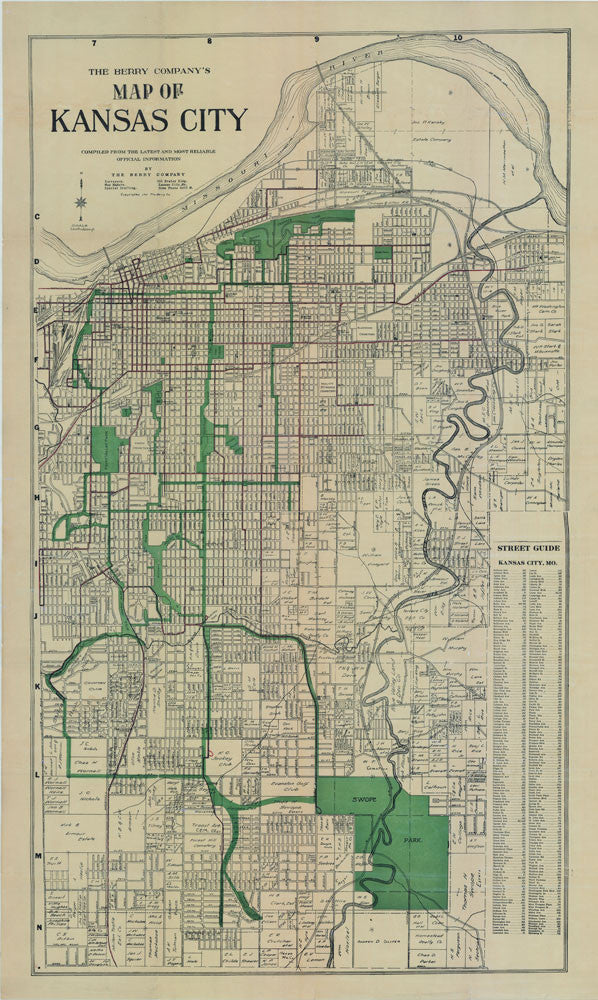 1911 Kansas City Map Berry Map Company Antique Map