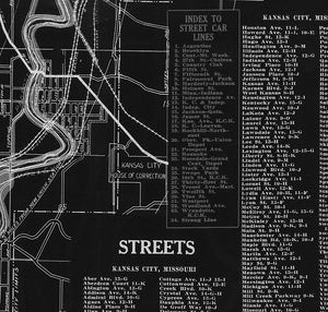 Kansas City Missouri Berry Street Car Antique Vintage Map 1914 - Negative