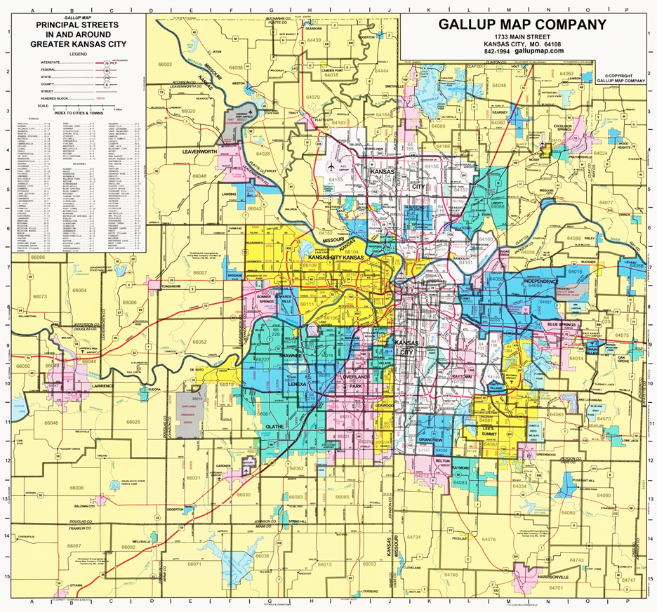 Kansas City Principal Streets And Zip Codes Map Gallup Map - Kansas city map
