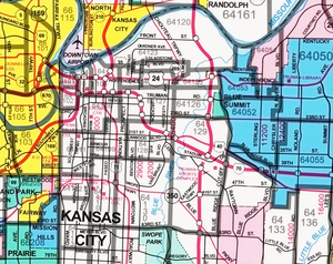 Kansas City Principal Streets and Zip Codes Map