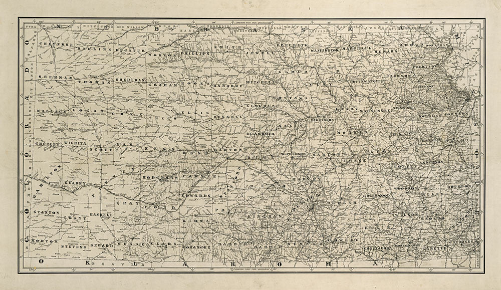 Kansas Rivers and Railroads Antique Map