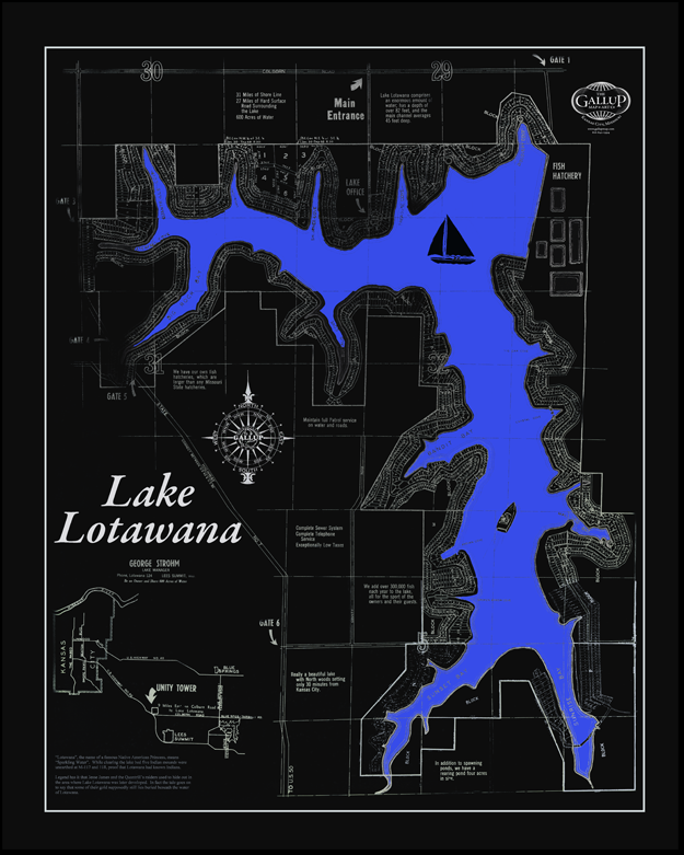 Lake Lotawana Black Map