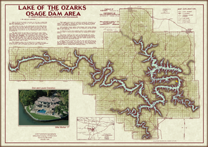 Lake of the Ozarks Original Map WITH COVE NAMES and Mile Markers.