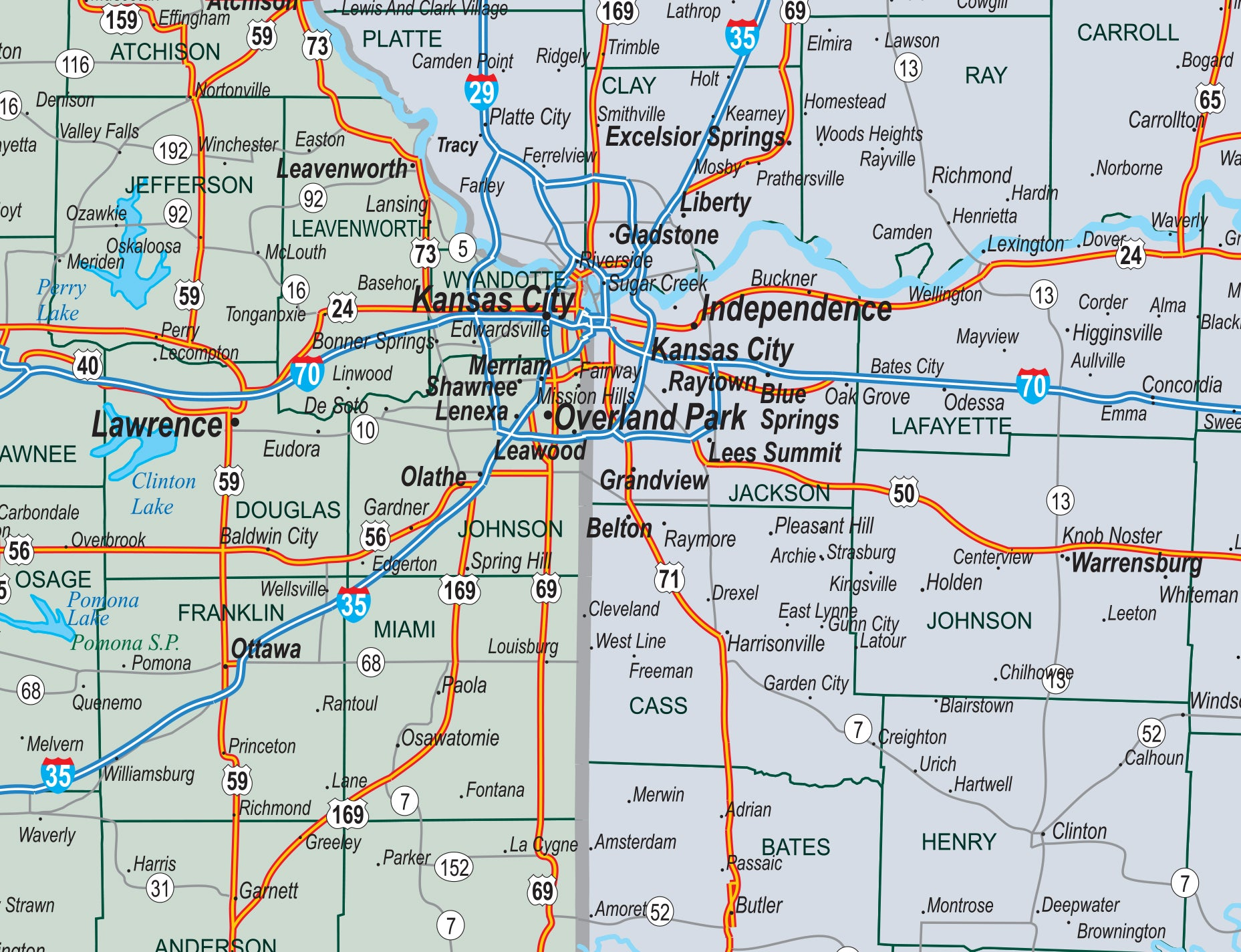 Four State Missouri Kansas Iowa Nebraska County Town Highway Map