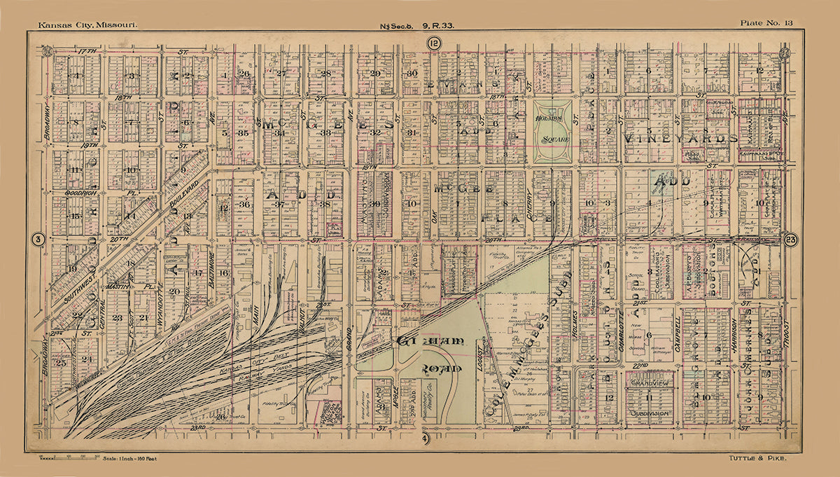 Kansas City Tuttle and Pike 1907 - Plate No 13 17th-23rd, Broadway-Troost