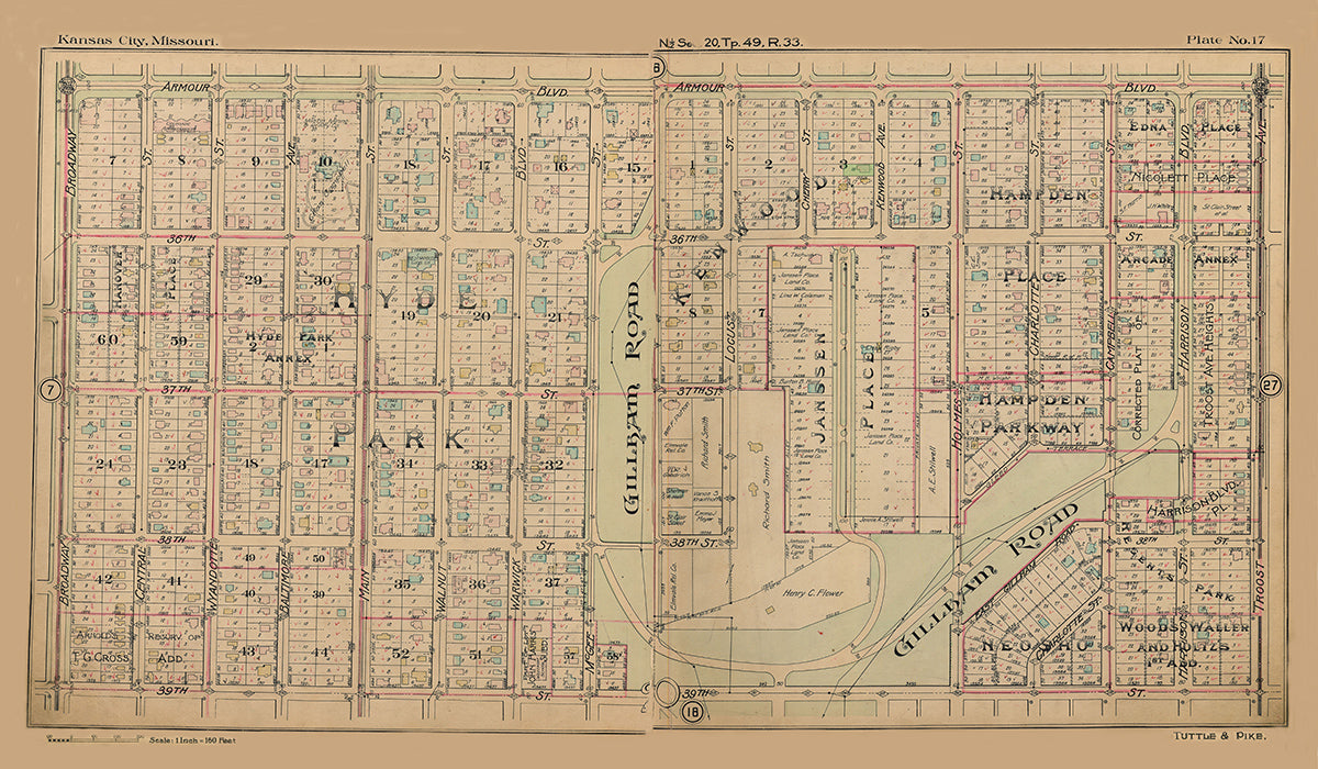 Kansas City Tuttle and Pike 1907 - Plate No. 17 Armour-39th, Broadway-Troost