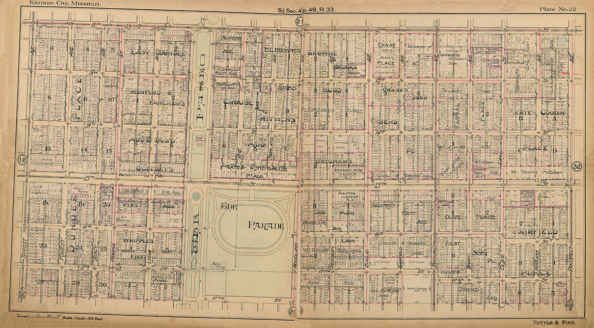 Kansas City Tuttle and Pike 1907 - Plate No. 22 12th-17th, Troost-Prospect