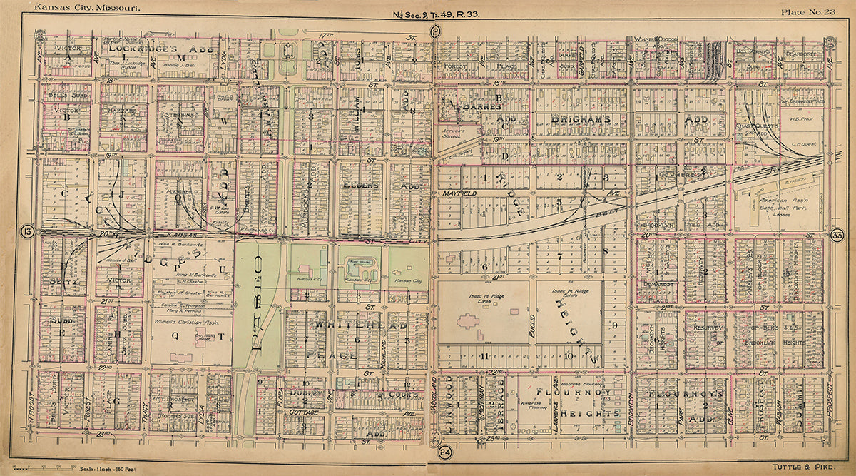 Kansas City Tuttle and Pike 1907 - Plate No. 23 17th-23rd, Troost-Prospect