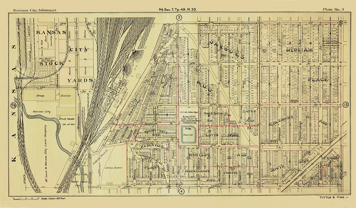 Kansas City Tuttle and Pike 1907 - Plate No 3 17th-23rd, State Line-Broadway 1