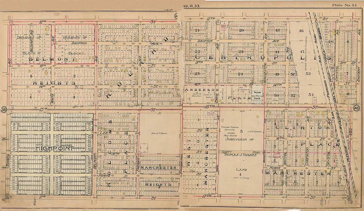 Kansas City Tuttle and Pike 1907 - Plate No. 44 12th-17th, Topping-Eastern