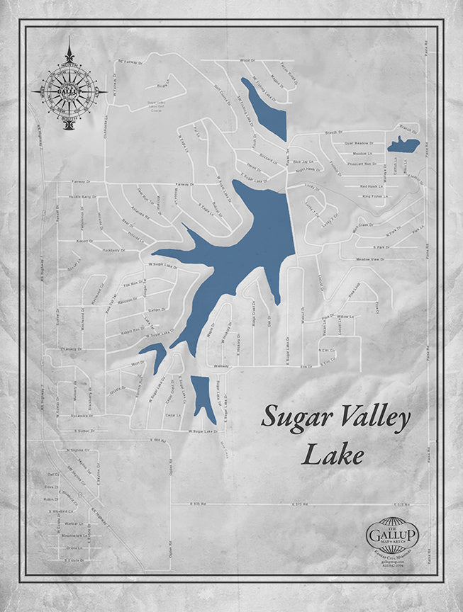 Sugar Valley Lake Classic Gray Style Canvas Map