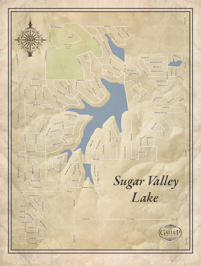 Sugar Valley Lake Old West Style Canvas Map