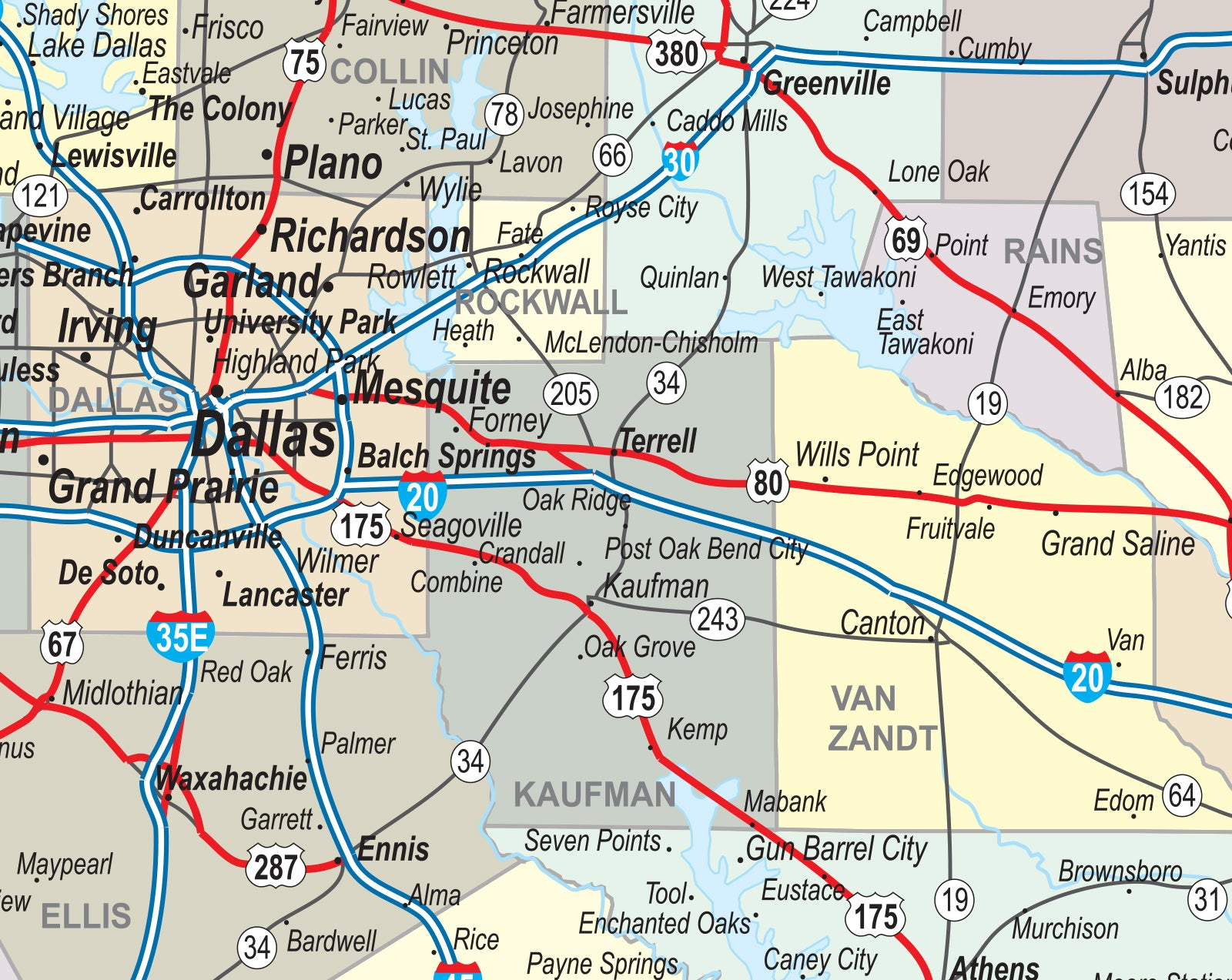 Detail Map Of Texas.Texas Laminated Wall Map County And Town Map With Highways