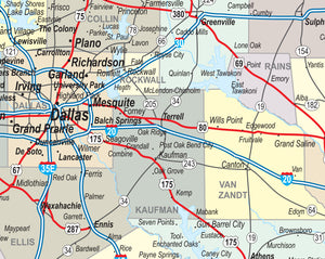 Texas Laminated Wall Map County and Town map With Highways