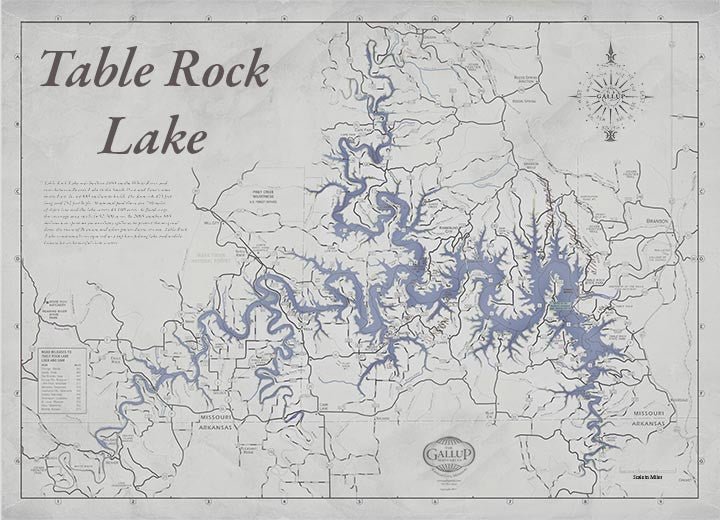 Table Rock Lake Map Decorator Gray with Antique Blue Water