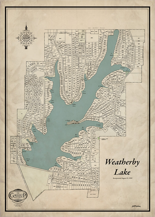 Weatherby Lake Old West Style Map