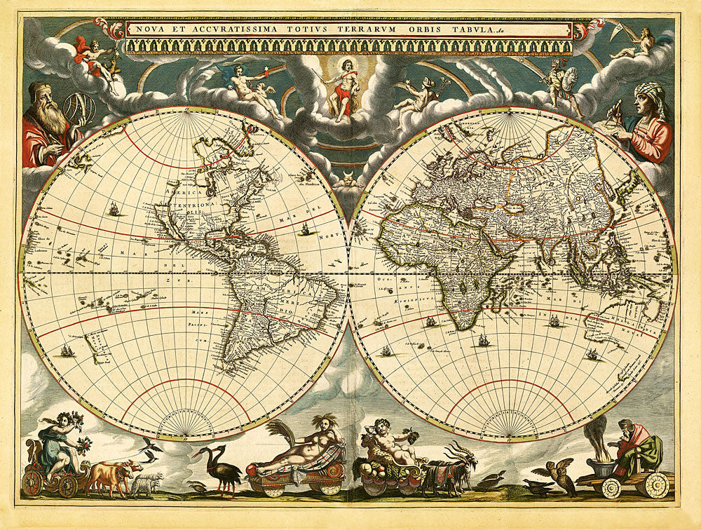 World Antique Vintage Map 1664 Sepia Gallup Map
