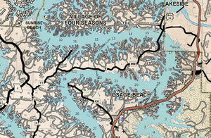 Lake of the Ozarks New and Old Combo Map Old West with Cove Names and Mile Markers
