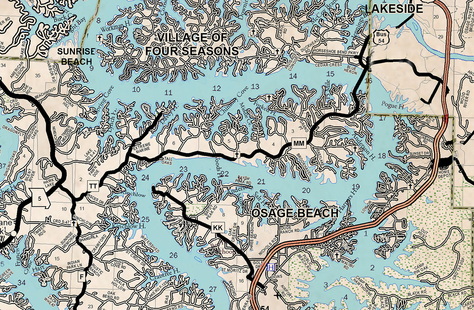 Lake of the Ozarks New and Old Combo Map Old West Style