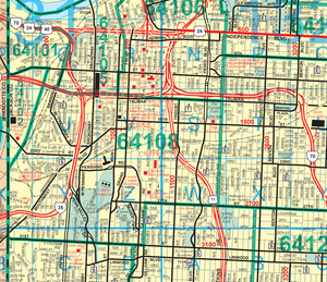 Kansas City Street and Zip Code Wall Map