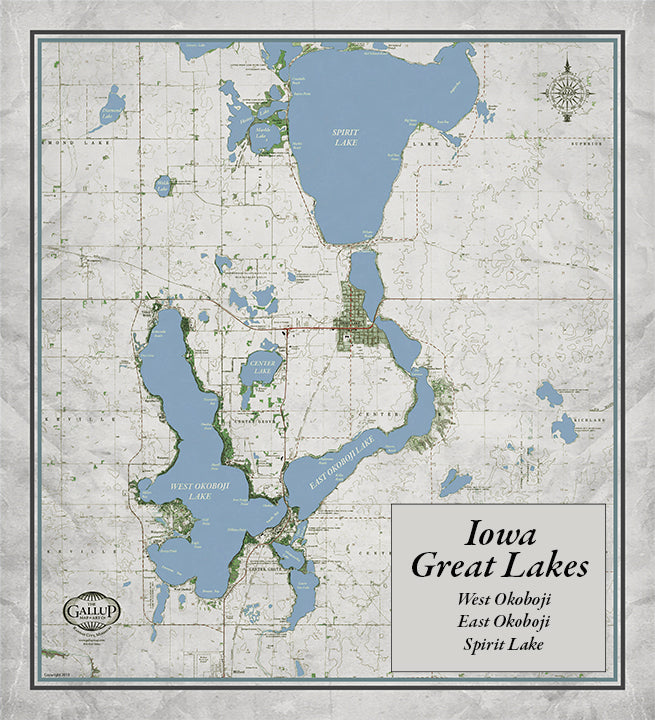 Iowa Great Lakes Classic Gray Style Map