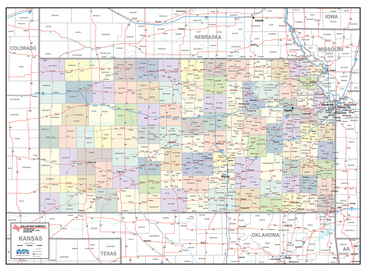Kansas Laminated Wall Map County and Town map With Highways