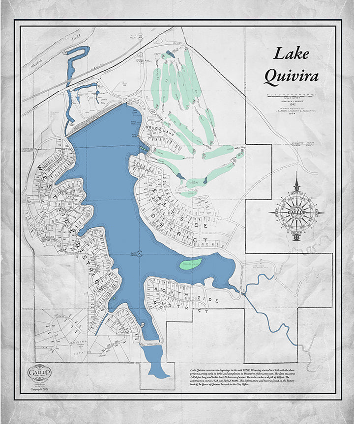 Lake Quivira Classic Gray Map with Golf Course