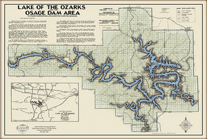 Lake of the Ozarks Black Type Map WITH COVE NAMES and Mile Markers