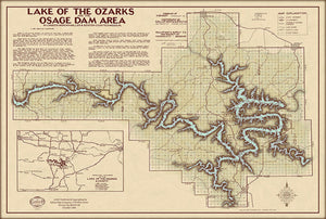 Lake of the Ozarks Classic Map with Cove Names and Mile Markers.