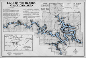 Lake of the Ozarks Map Decorator Gray with Antique Blue Water WITH COVE NAMES