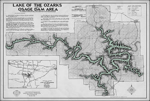 Lake of the Ozarks Map Decorator Gray with Antique Green water WITH COVE NAMES