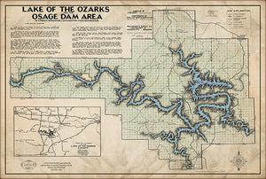 Lake of the Ozarks Old West Style Map WITH COVE NAMES and Mile Markers.