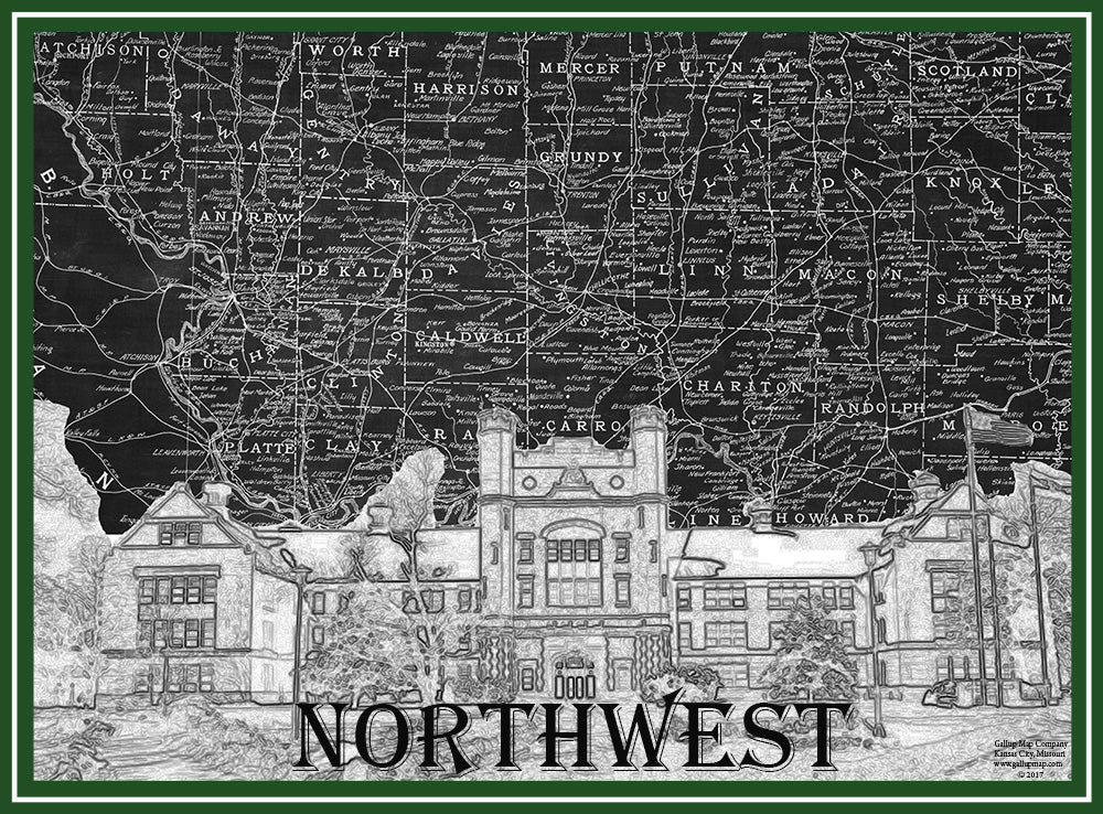 Northwest Missouri Map.Northwest Missouri State Campus Map Art Gallup Map