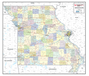 Missouri Laminated Wall Map County and Town map With Highways