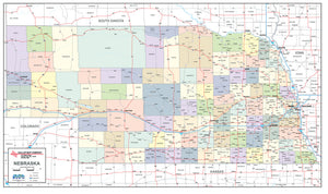 Nebraska Laminated Wall Map County and Town map With Highways