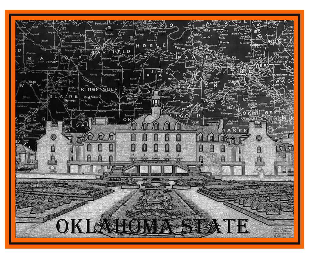 Oklahoma State Campus Map Art - Gallup Map