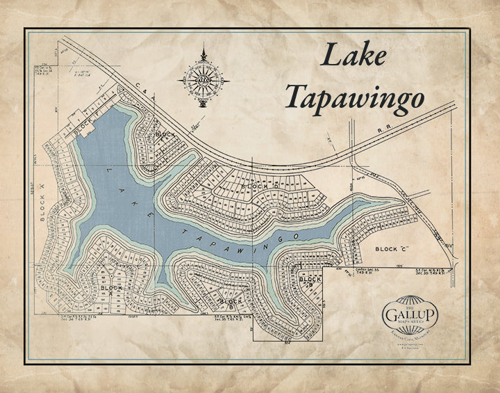 Lake Tapawingo Old West Canvas Map