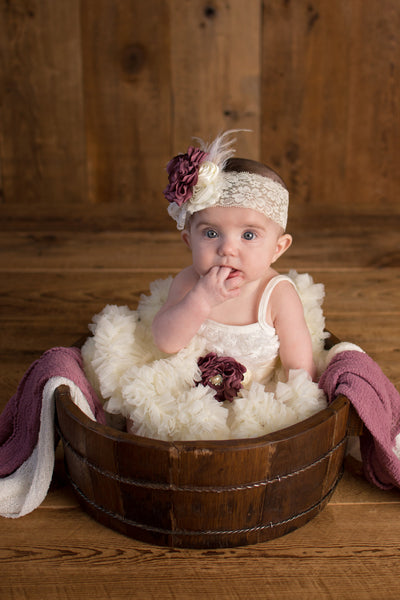French Ivory Fluffy Baptism Dress