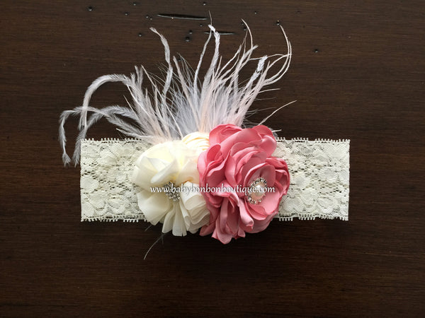 Dusty Pink and Ivory Christening Headband & Sash