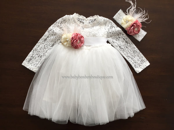 French White Ballerina Baptism Dress with Headband & Sash