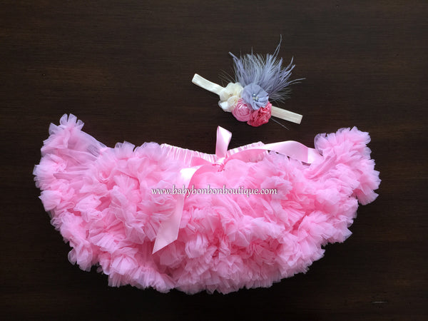 Pink Super Fluffy Skirt & Flower Headband
