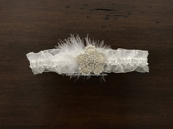 Baptism Rhinestones Headband, French White Double Ruffled Lace