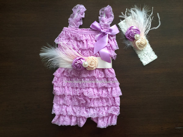 Baby Purple Romper with Headband & Sash
