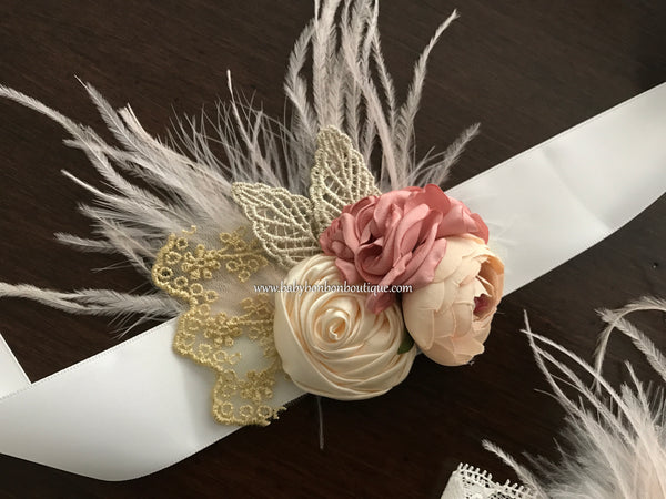Dusty Rose & French Cream Flower Girl Headband, Sash and Barefoot Sandals