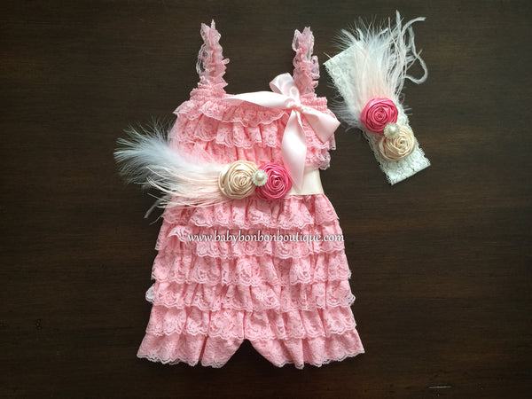 Baby Pink Romper with Headband & Sash, Yellow Baby Romper